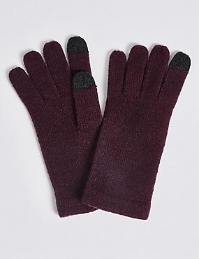 Knitted Touchscreen Gloves, DARK GRAPE, catlanding