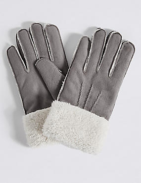 Faux Fur Shearling Gloves, GREY, catlanding