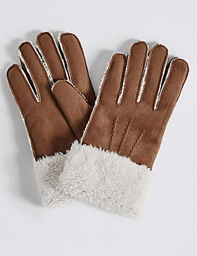Faux Fur Shearling Gloves, TAN, catlanding
