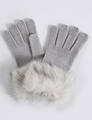 Faux Fur Cuff Gloves, GREY, catlanding