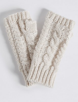 Cable Knit Gloves, CREAM, catlanding