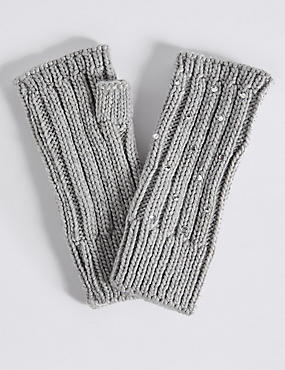 Diamanté Cable Knit Gloves, GREY, catlanding