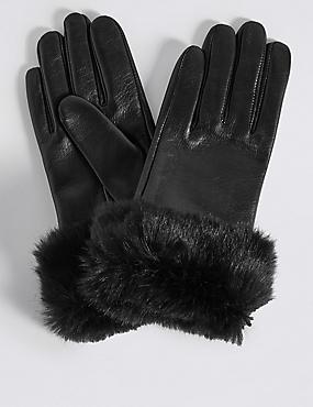 Leather Fur Cuff Gloves, BLACK, catlanding