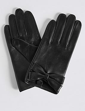 Leather Bow Detail Gloves, BLACK, catlanding
