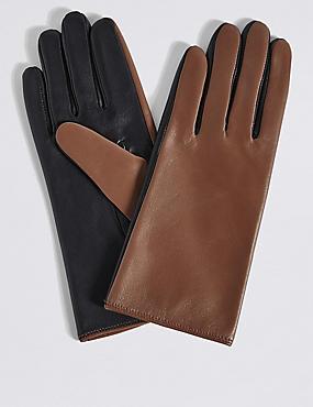 Leather Colour Block Gloves, LIGHT TAN MIX, catlanding