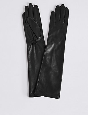 Leather Longline Gloves, BLACK, catlanding