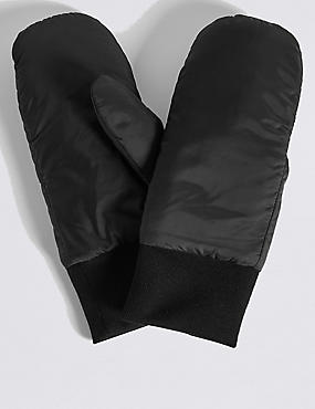Cuff Ribbed Mitten Gloves, BLACK, catlanding