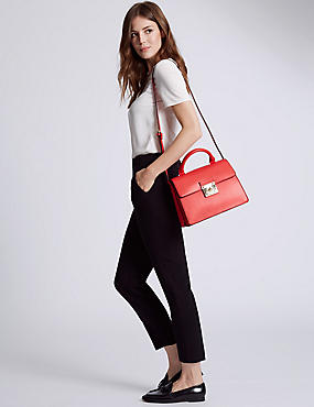 Faux Leather Top Handle Tote Bag, RED, catlanding