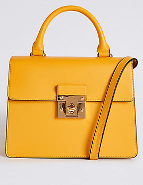Faux Leather Top Handle Tote Bag, YELLOW, catlanding