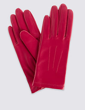 Leather Stitch Detail Gloves, BRIGHT PINK, catlanding