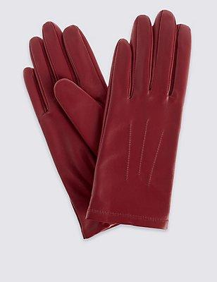 Leather Stitch Detail Gloves, DARK RED, catlanding