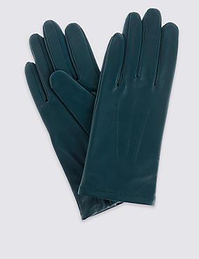 Leren handschoenen met sierstiksel, MARINEBLAUW, catlanding