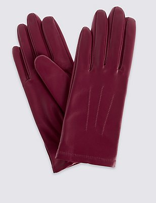 Leather Stitch Detail Gloves, RASPBERRY, catlanding