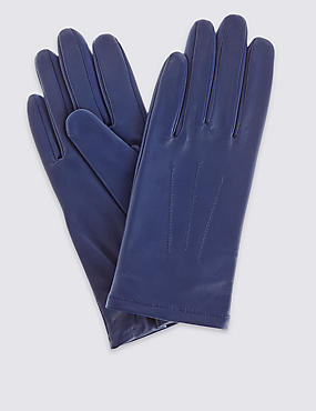 Leather Stitch Detail Gloves, BLUE, catlanding