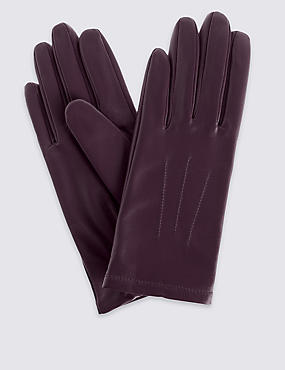 Leather Stitch Detail Gloves, AUBERGINE, catlanding