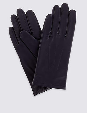 Leather Stitch Detail Gloves, NAVY, catlanding