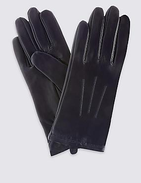 Leren handschoenen met sierstiksel, NACHTBLAUW, catlanding