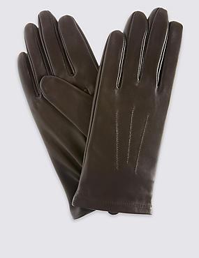 Leren handschoenen met sierstiksel, CACAO, catlanding
