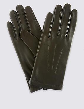 Leren handschoenen met sierstiksel, KAKI, catlanding