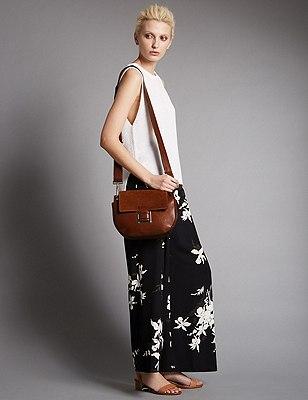 Leather Across Body Bag, TAN, catlanding