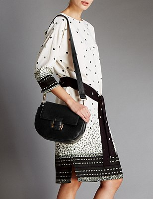 Leather Across Body Bag, BLACK, catlanding