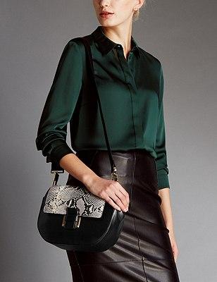 Leather Across Body Bag, BLACK MIX, catlanding
