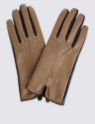 Кожаные перчатки с контрастным дизайном