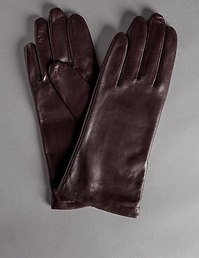 Cashmere Lined Leather Gloves, PURPLE, catlanding