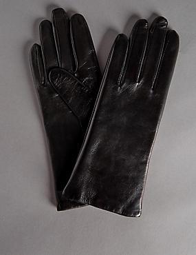 Cashmere Lined Leather Gloves, BLACK, catlanding