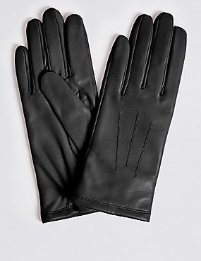 Leather Stitch Detail Gloves, BLACK, catlanding