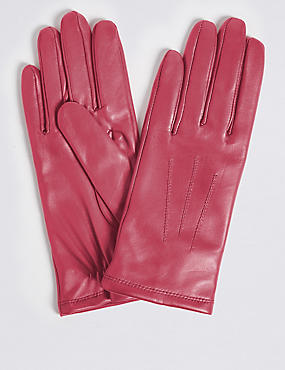 Leather Stitch Detail Gloves, PINK, catlanding