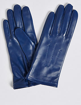 Leather Stitch Detail Gloves, COBALT, catlanding
