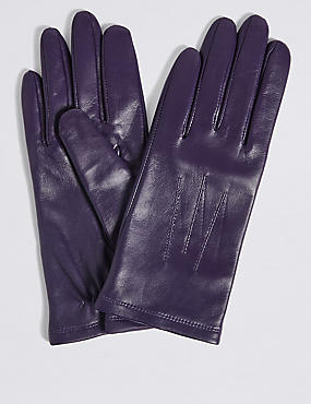 Leather Stitch Detail Gloves, PURPLE, catlanding