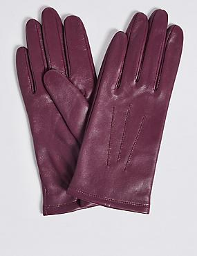 Leather Stitch Detail Gloves, MAGENTA, catlanding