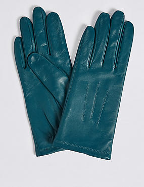 Leather Stitch Detail Gloves, TEAL, catlanding