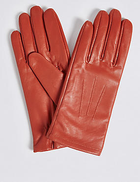 Leather Stitch Detail Gloves, ORANGE, catlanding