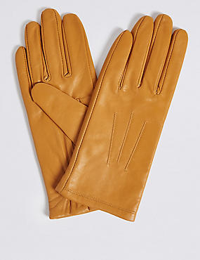 Leather Stitch Detail Gloves, OCHRE, catlanding