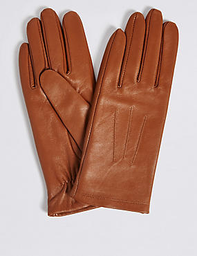 Leather Stitch Detail Gloves, TAN, catlanding