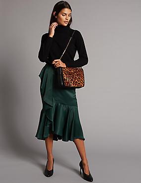 Leather Milly Shoulder Bag, BLACK MIX, catlanding