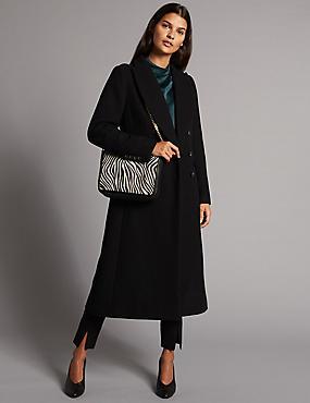Leather Milly Shoulder Bag, BLACK/WHITE, catlanding