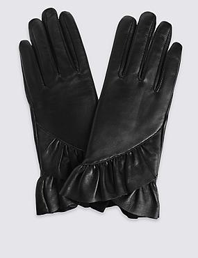 Leather Ruffle Gloves, BLACK, catlanding