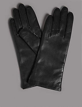 Cashmere Lined Leather Gloves, BLACK, catlanding