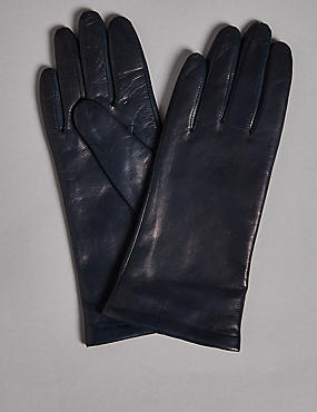 Cashmere Lined Leather Gloves, NAVY, catlanding
