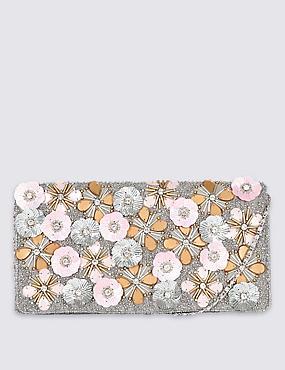Pochette à motif fleuri en relief, , catlanding