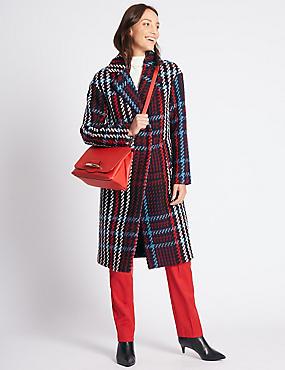 Faux Leather Bar Detail Shoulder Bag, RED, catlanding
