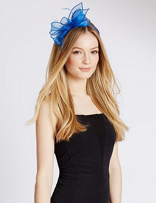 Faux Feather Bow Fascinator, BRIGHT BLUE, catlanding