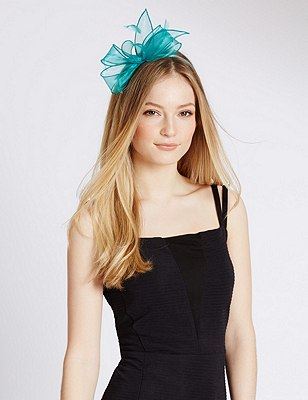 Faux Feather Bow Fascinator, TURQUOISE, catlanding
