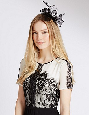 Faux Feather Bow Fascinator, BLACK, catlanding