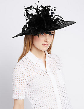 Floral Straw Fascinator, BLACK, catlanding