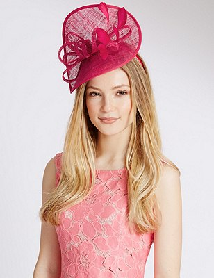 Faux Feather Twisted Fascinator, BRIGHT PINK, catlanding